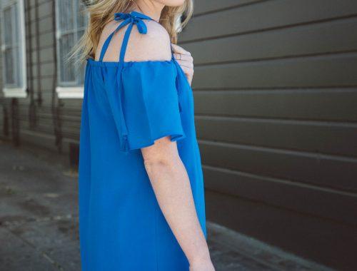 Blue Tassel Tie Dress.