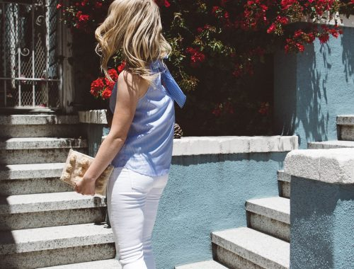 Summer Outfit Inspiration // Cait of Pretty & Fun wears a Striped J. Crew Bow Back Top with White Madewell Denim.