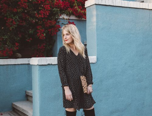 Silk Madewell Dress with Black Over The Knee Boots.